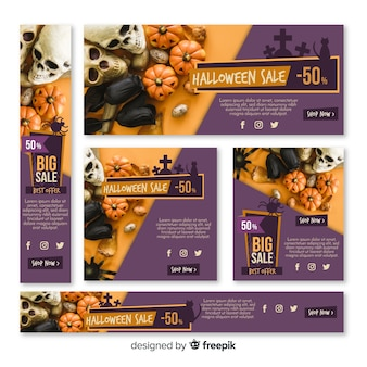 Set of halloween sale banners
