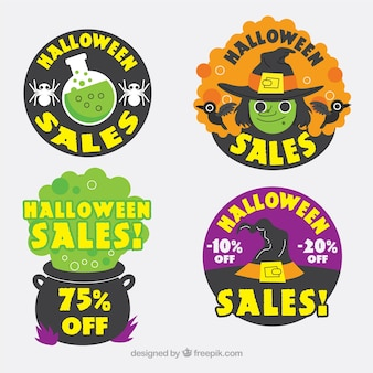Set of halloween sale stickers