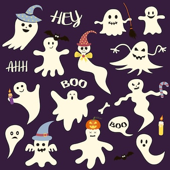 Set of halloween scary ghosts. perfect for holiday, decoration, stickers, icons.