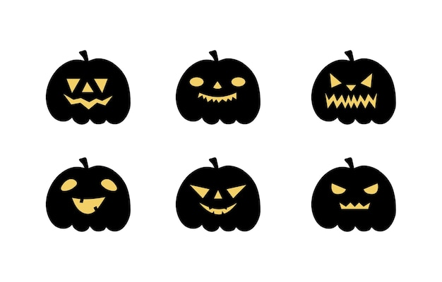 Set of halloween scary pumpkins. flat style vector spooky creepy pumpkins
