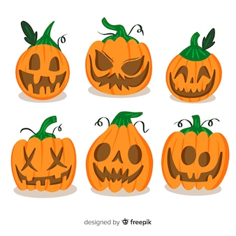 Set of halloween scary pumpkins