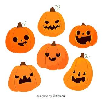Set di zucche spaventose di halloween