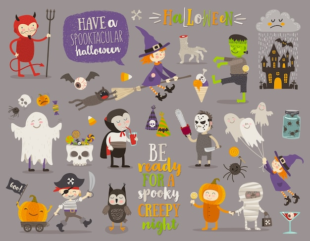 Set of halloween sign, symbol, objects, items and cartoon characters. illustration.