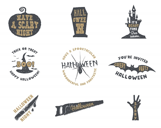 Set of halloween silhouette badges. vintage hand drawn halloween party logo design for celebrating holiday.