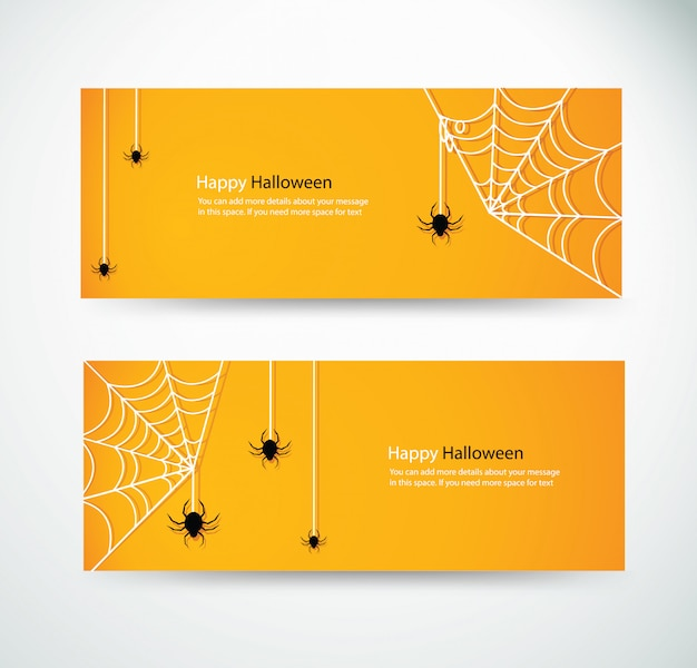 Set halloween spider and wab banner