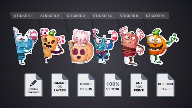 Set halloween sticker cartoon character vector eps