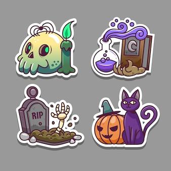 Set of halloween stickers