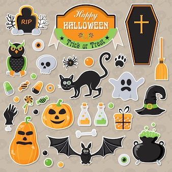 Set of halloween stickers