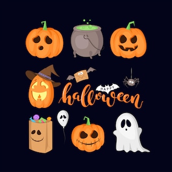 Set of halloween symbols isolated on black background. cauldron, ghost, pumpkin, spider etc