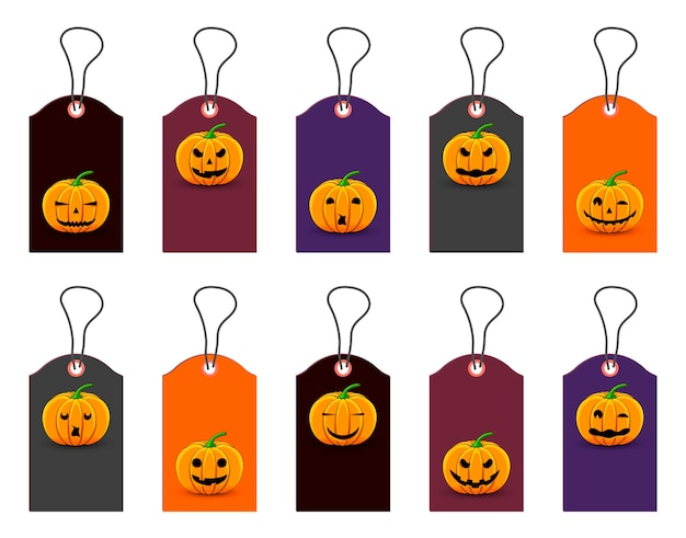 Set of halloween tags for holiday goods. cartoon style.