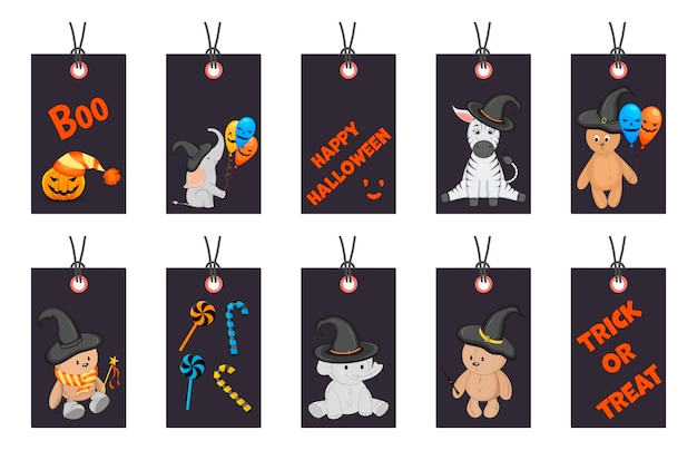 Set of halloween tags for holiday goods on a white background. cartoon style. vector.
