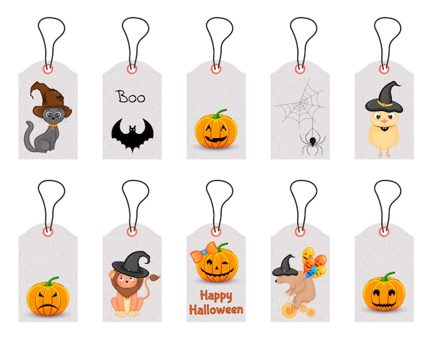 Set of halloween tags for holiday goods on a white background. cartoon style. .