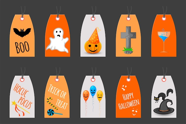 Set of halloween tags for holiday goods