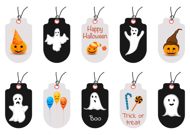 Set of halloween tags or labels. cartoon style