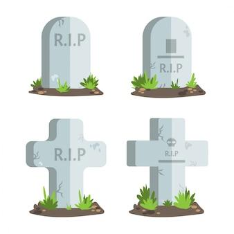 Set of halloween tombstones with r.i.p text. Premium Vector