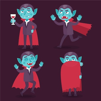 Set of halloween vampire character