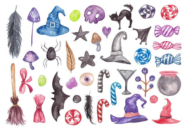 Set of halloween watercolor elements collection