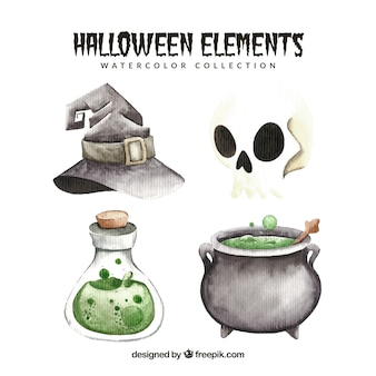 Set of halloween watercolor elements