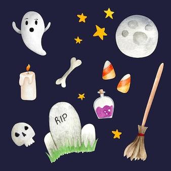 Set of halloween watercolor elements