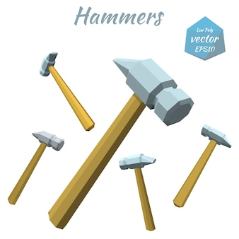 Set of hammers isolated on white