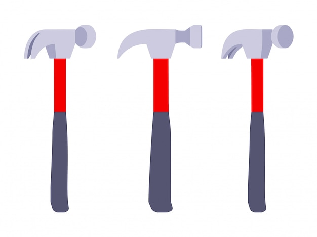 Set of the hammers with red-and-black handle.