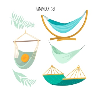 Set of hammocks for relaxation. flat style.