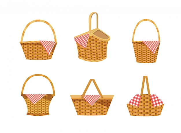 Set di cesto con cibo e decorazione tovaglia