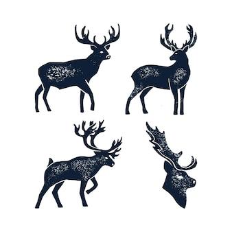 손 그리기 사슴 실루엣 그런지를 설정합니다. 착용된 텍스처와 흰색 배경에 고립 된 야생 동물 사슴의 벡터 일러스트 레이 션. 로고, 상징, 포스터, 레터링, 패턴, 배너 요소