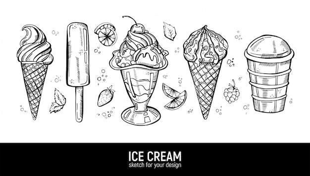 Set of hand drawing realistic ice cream.