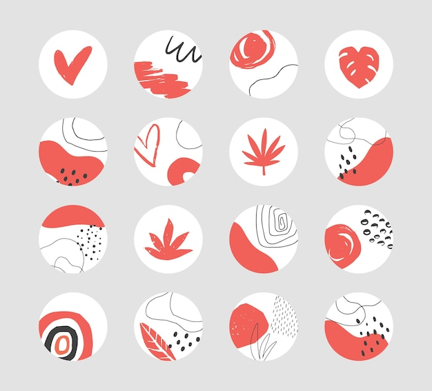 Set of hand drawn abstract collage templates for social media highlights