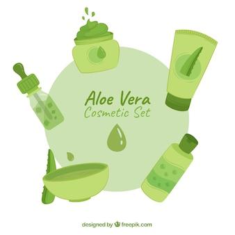 Set of hand-drawn aloe vera products