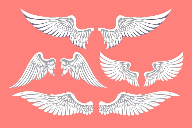 Set of hand drawn angel wings of different shape in open position