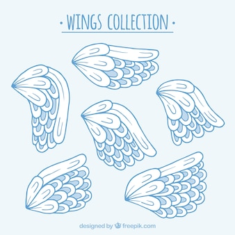 Set of hand drawn angel wings