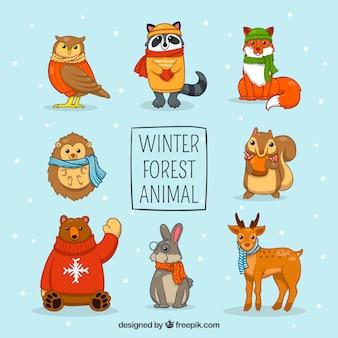 Set of hand-drawn animals