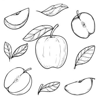 Установить рисованной яблочный вектор