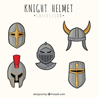 Set of hand drawn armor helmets