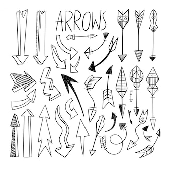 Set of hand drawn arrow