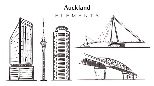 Set of hand-drawn auckland buildings