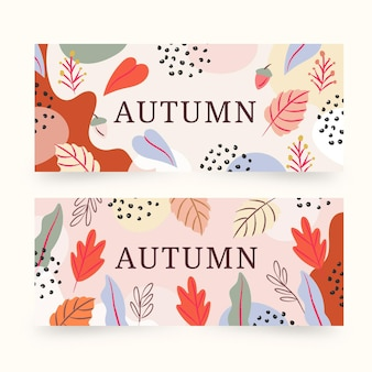Set of hand drawn autumn banners