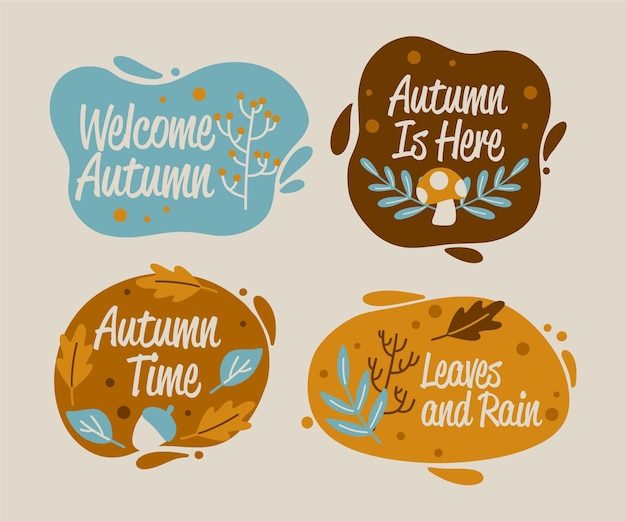 Set of hand drawn autumn labels