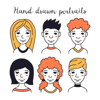 Set of hand-drawn avatars of different people
