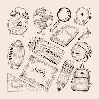 Set of hand drawn back to school elements
