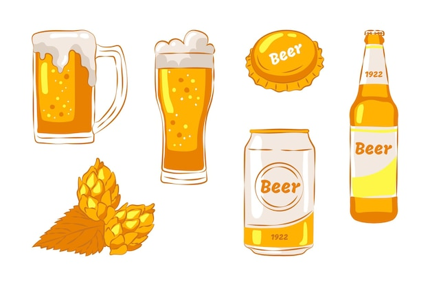 Set of hand drawn beer elements