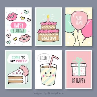 Set of hand drawn birthday cards