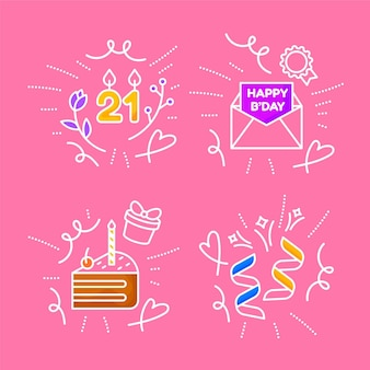 Set of hand drawnbirthday doodles