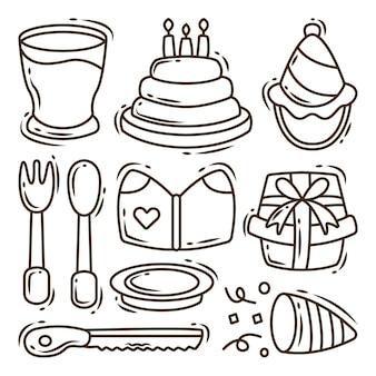 Set of hand drawn birthday equipment cartoon doodle coloring