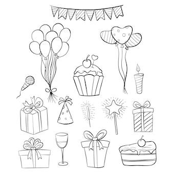 Set of hand drawn birthday icons or elements with white