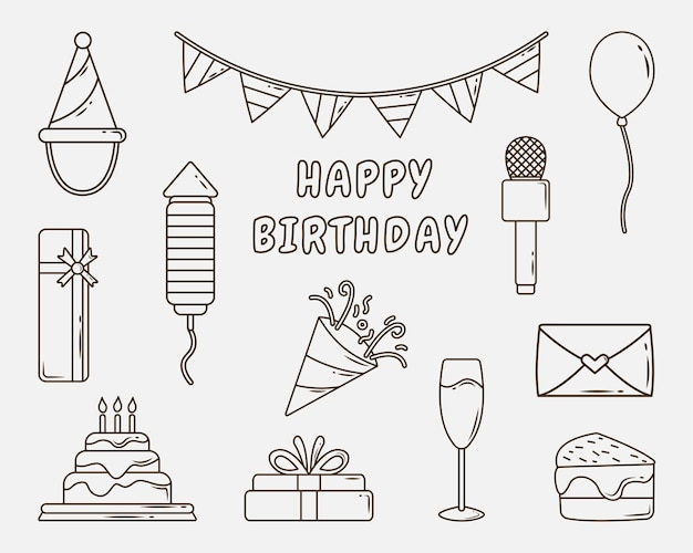 Set of hand drawn birthday party cartoon doodle coloring