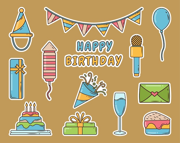 Set of hand drawn birthday party cartoon doodle sticker