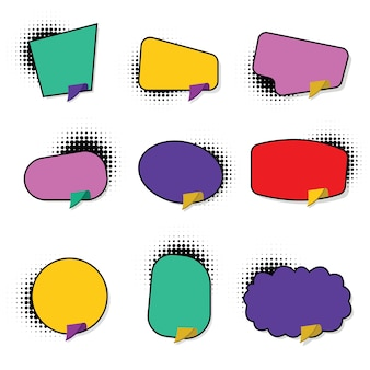 Set hand drawn blank template speech bubbles